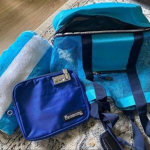 Handbags - Blue Pool Beach Cooler Tote Bag + Lock Bag + Towel